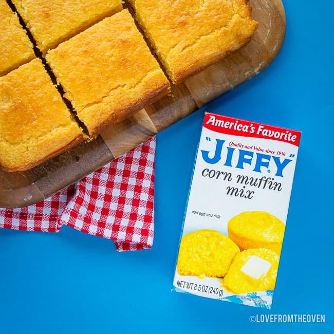 Sliced cornbread and Jiffy corn muffin mix