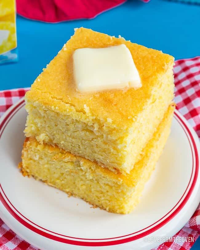 Two stacked pieces of cornbread