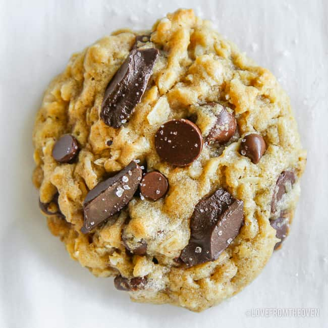 A close up of oatmeal chocolate chip cookies