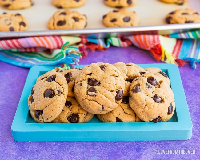 A stack of chocolate chip peanut butter cookies