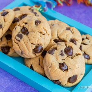 a pile of chocolate chip peanut butter cookies