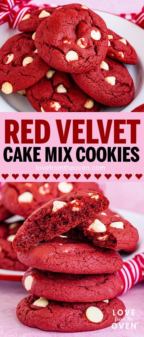 Several photos of red velvet cookies with white chocolate chips