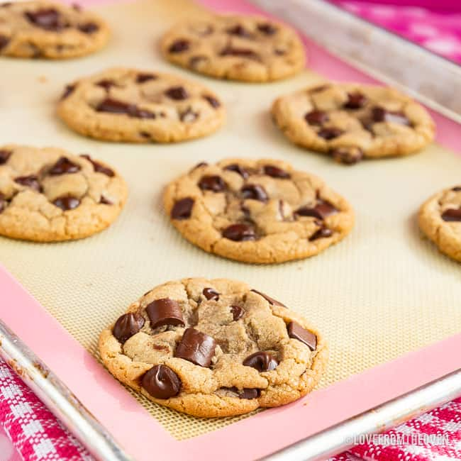 A tray of Chocolate chip cookies