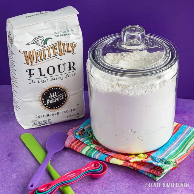 A large container of flour