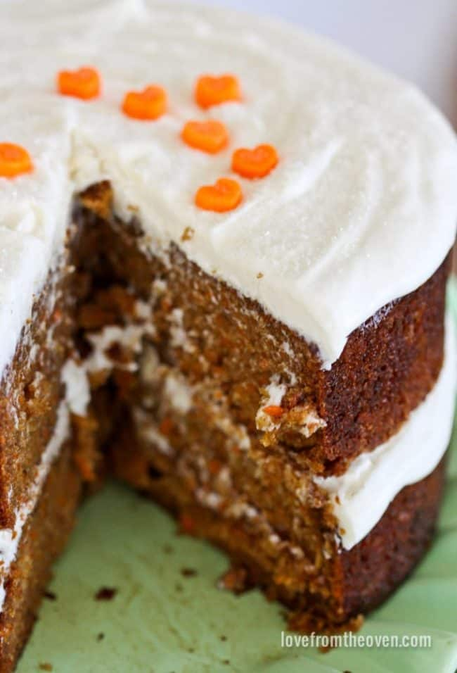 A close up of carrot cake