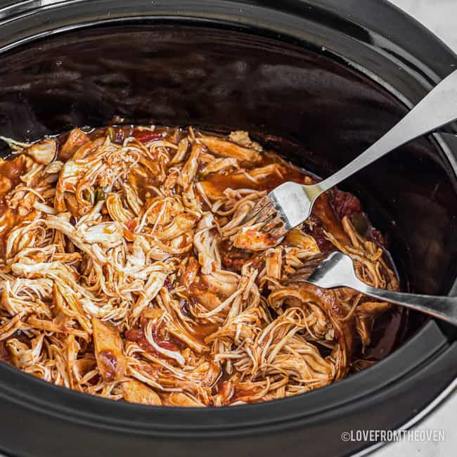 Chicken for tacos in a slow cooker