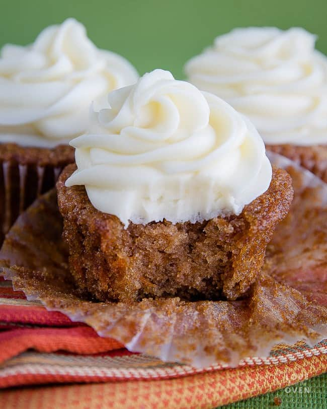 Several carrot cake cupcakes
