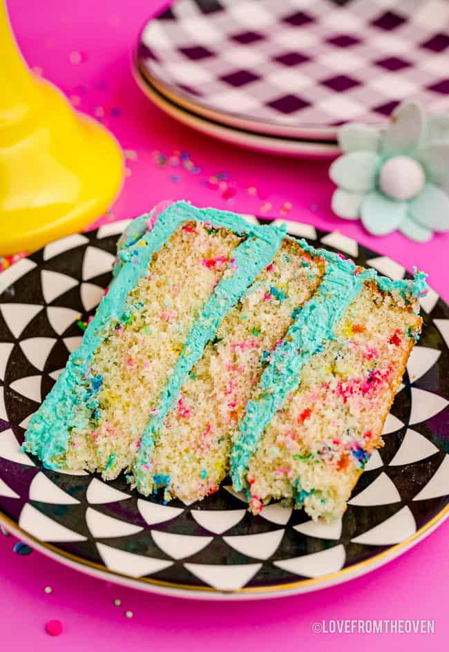 A slice of funfetti cake