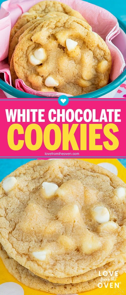 Several images of white chocolate chip cookies