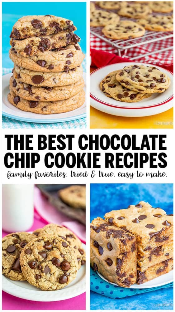 Several different images of Chocolate chip cookies