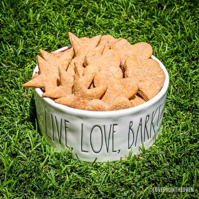 A bowl of homemade peanut butter dog treats