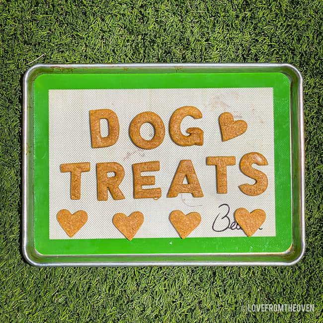 A cookie sheet with homemade dog treats