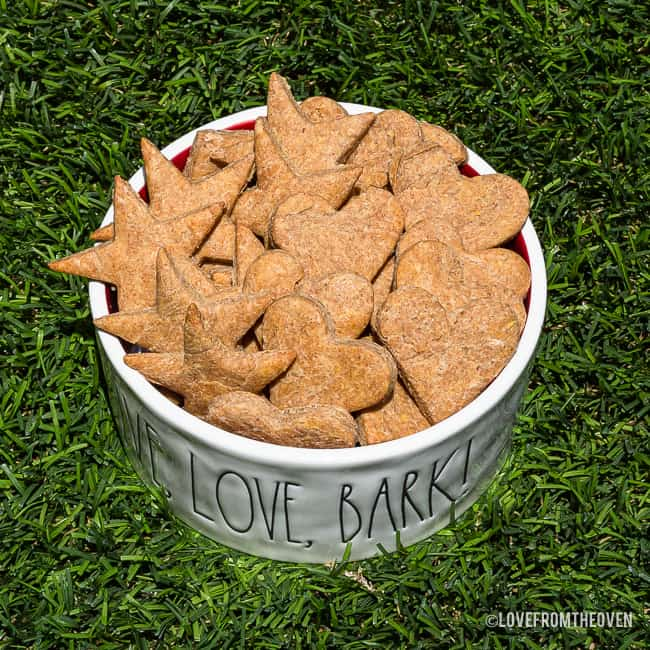 Bowl of peanut butter dog treats on grass