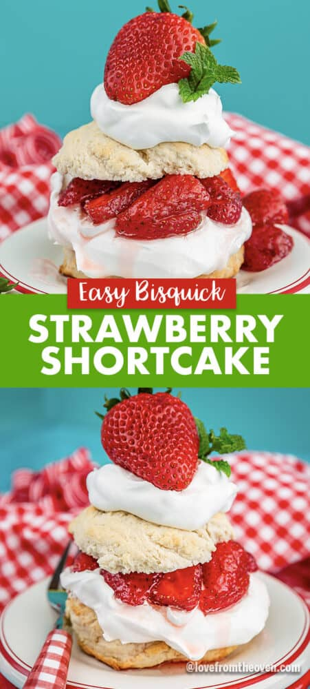 Servings of Bisquick Strawberry Shortcake with a blue backdround