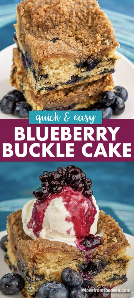 Slices of blueberry buckle cake, one with ice cream and blueberry topping
