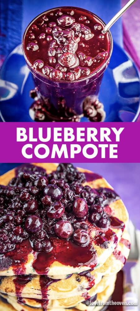 Blueberry compote on pancakes