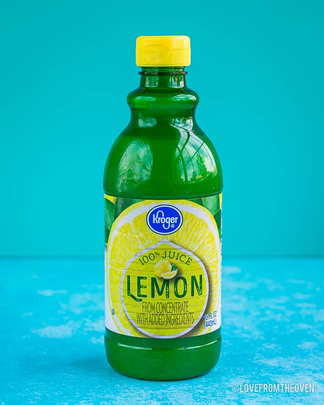 A bottle of lemon juice to make homemade buttermilk