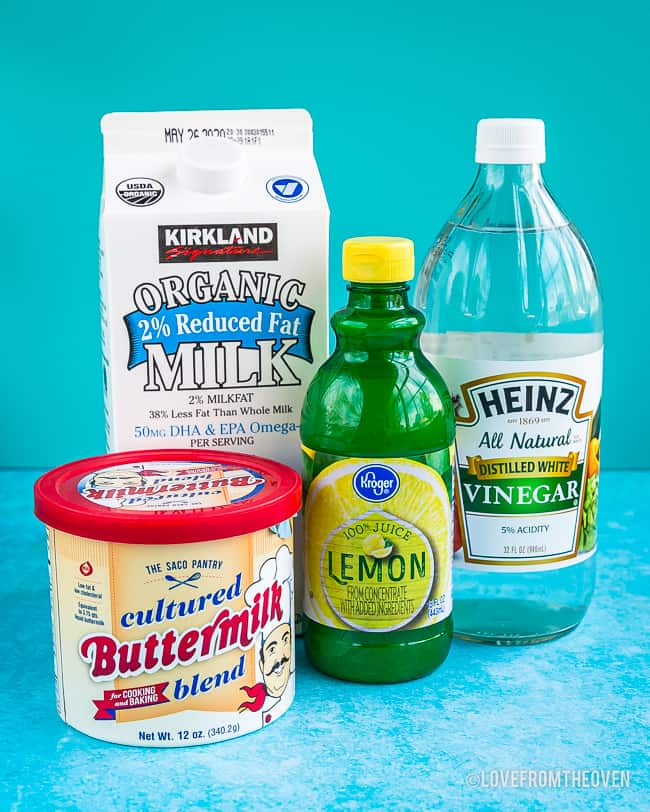Buttermilk substitutes including lemon juice, vinegar, milk and buttermilk powder