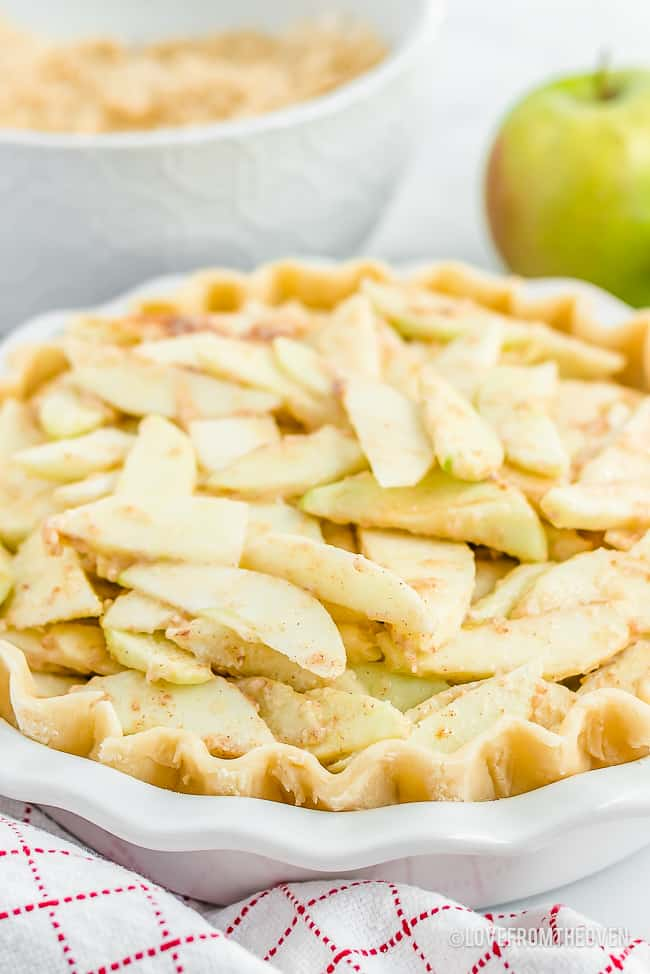 Dutch apple pie recipe being made