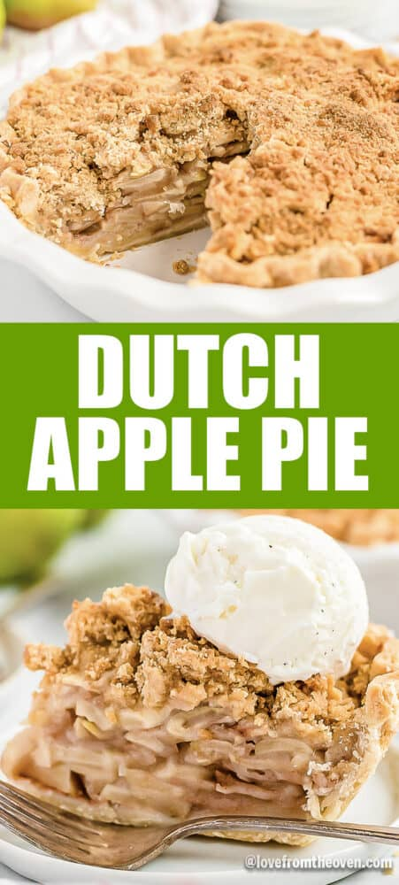 A dutch apple pie both whole and a single slice topped with vanilla ice cream