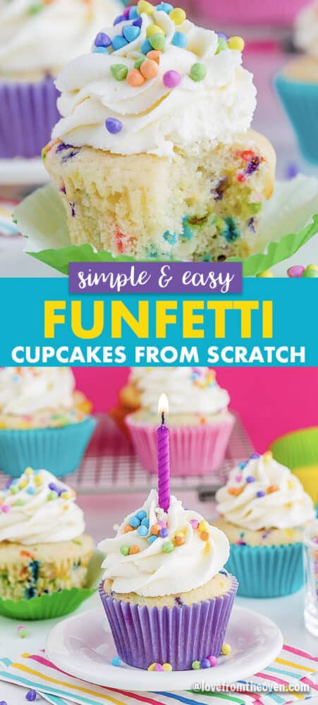 Funfetti cupcakes with sprinkles and a candle