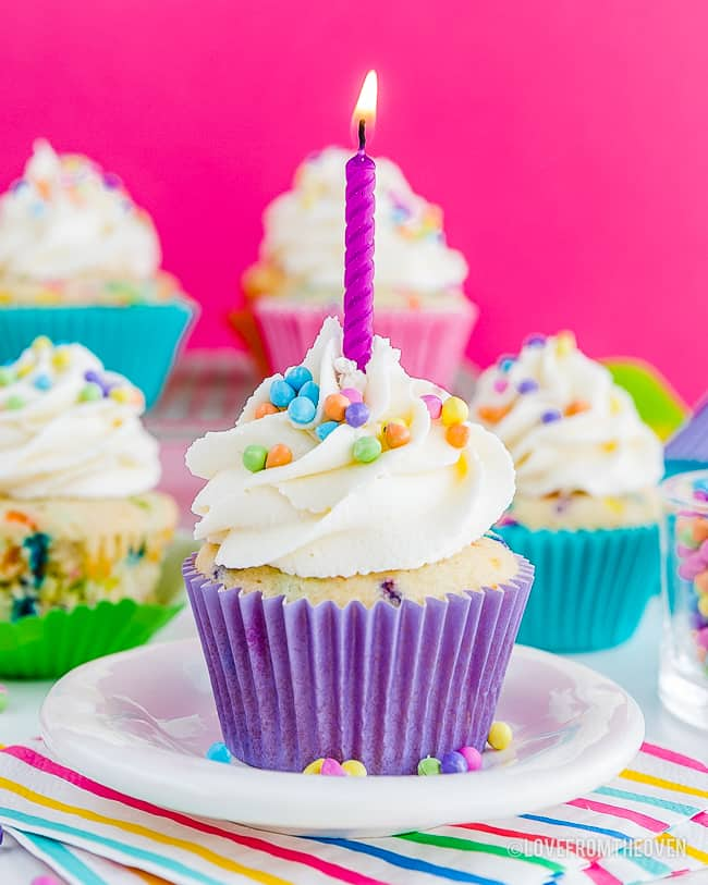Funfetti sprinkle cupcake with a candle