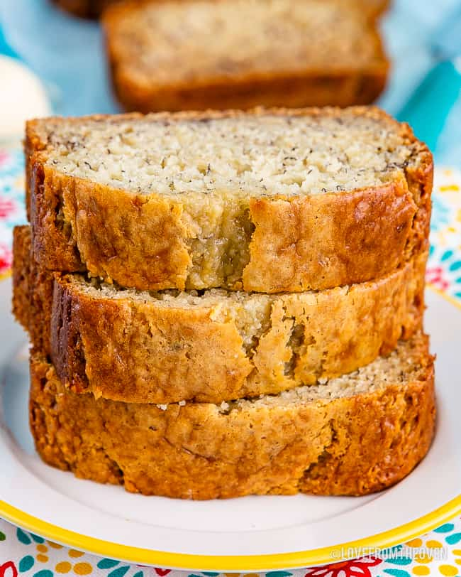A stack of banana bread slices