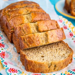 A loaf of banana bread that is sliced