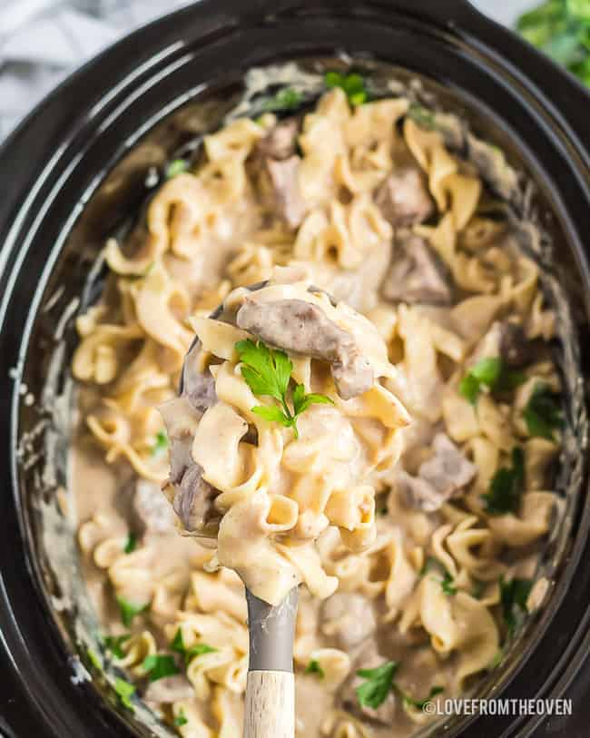 A slow cooker full of beef stroganoff
