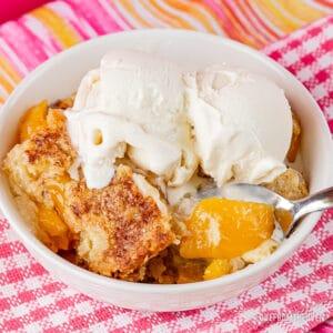 Peach Dum Cake in white bowl