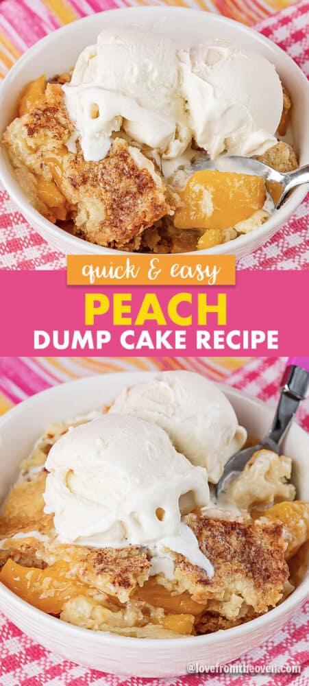 Bowls of Peach Dump Cake