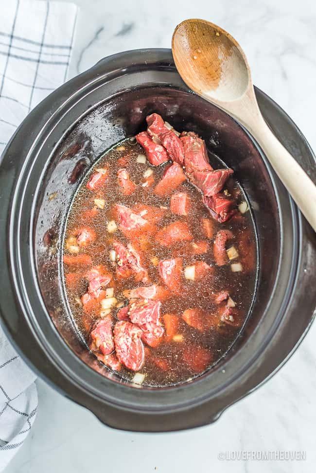 Beef stroganoff in a crock pot