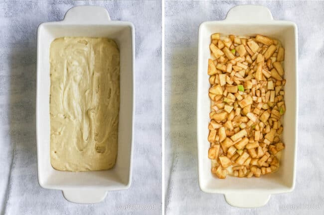 two bread pans with ingredients to make apple bread in them