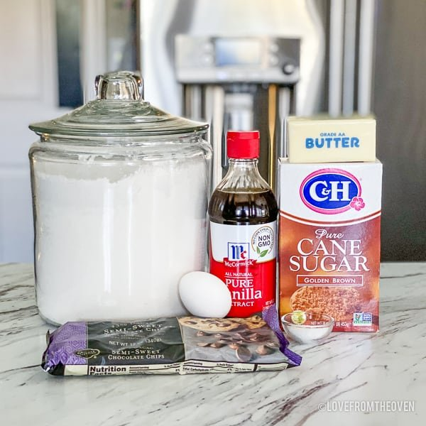 ingredients to make blondies on a kitchen counter