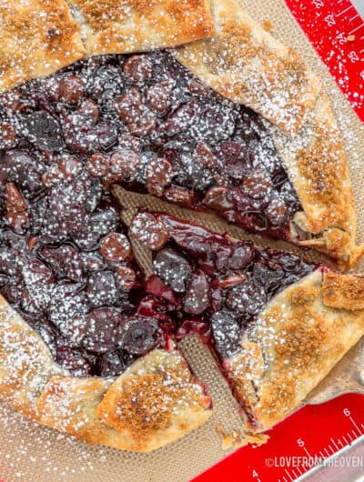 chocolate cherry galette being cut