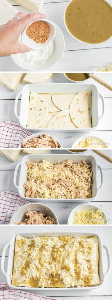 step by step photos of making a chicken tortilla casserole