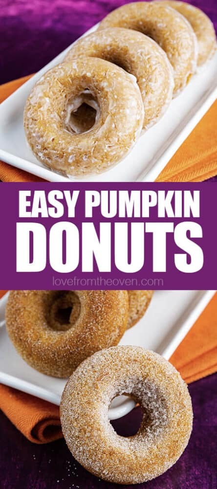 photos of pumpkin donuts on orange and purple background