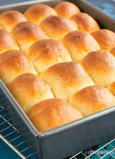 Pan full of bread rolls
