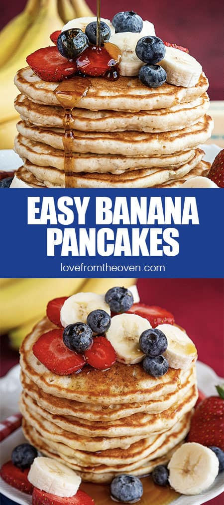 stacks of banana pancakes topped with fruit