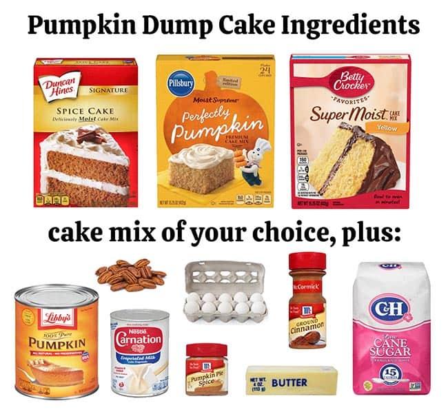 ingredients needed to make a pumpkin dump cake