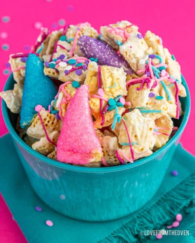 A bowl of colorful chex mix