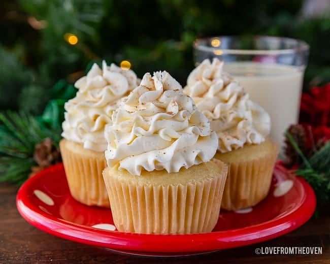 eggnog cupcakes on a red plate