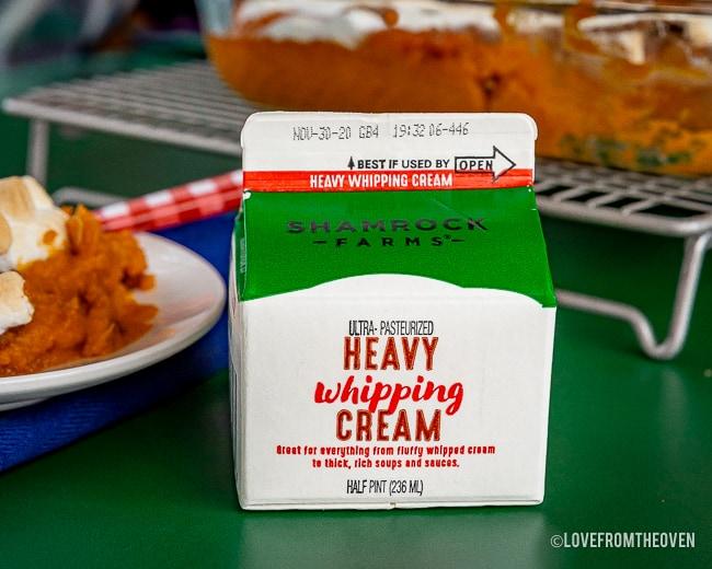 A carton of Shamrock Farms Heavy Whipping Cream