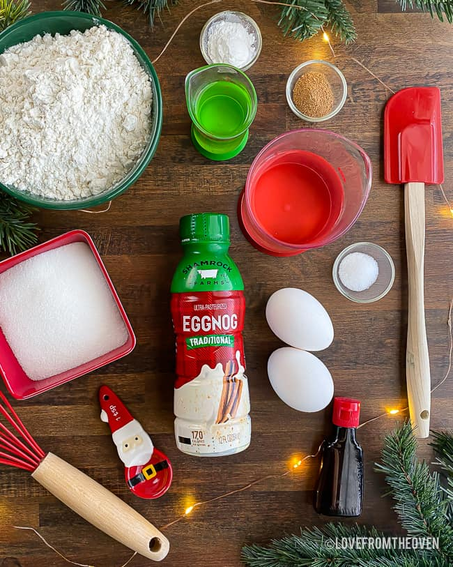 overhead shot of ingredients for eggnog cupcakes