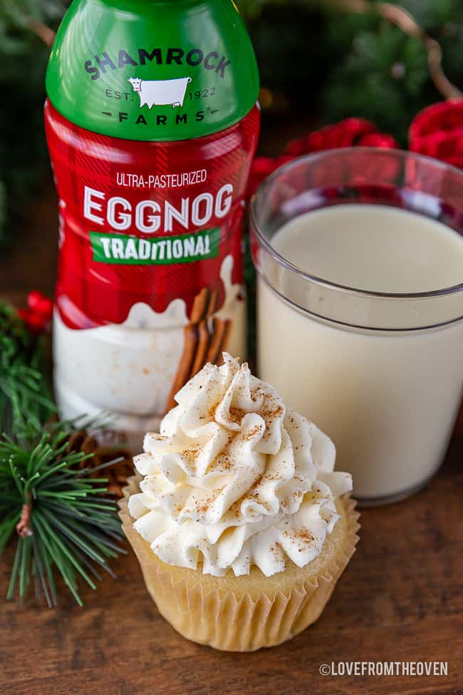 Shamrock Farms Eggnog with an eggnog cupcake and glass of eggnog