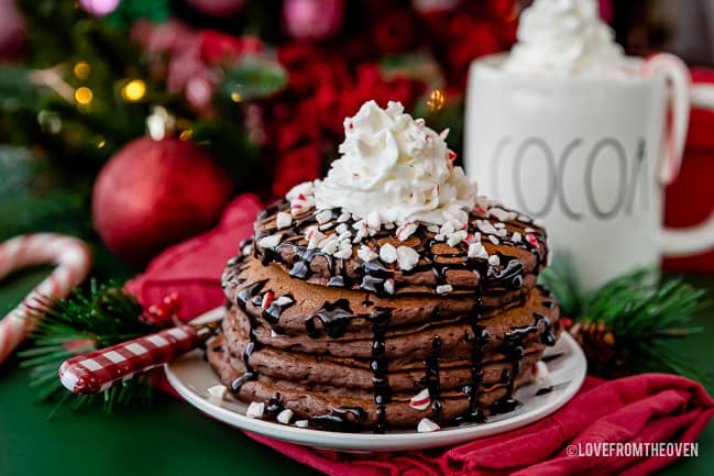 A stack of chocolate pancakes