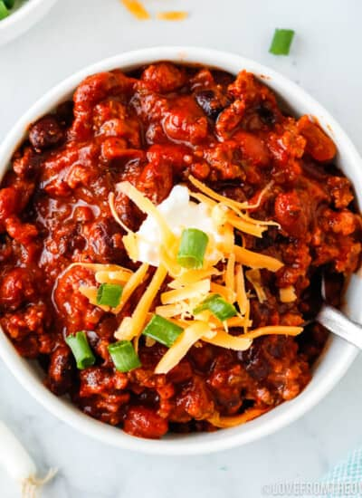 close up bowl of beef chili