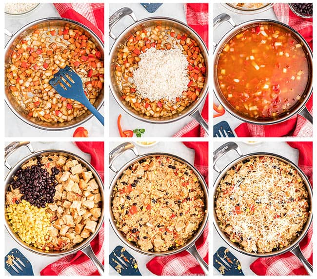 Skillets of ingredients to make southwest chicken and rice