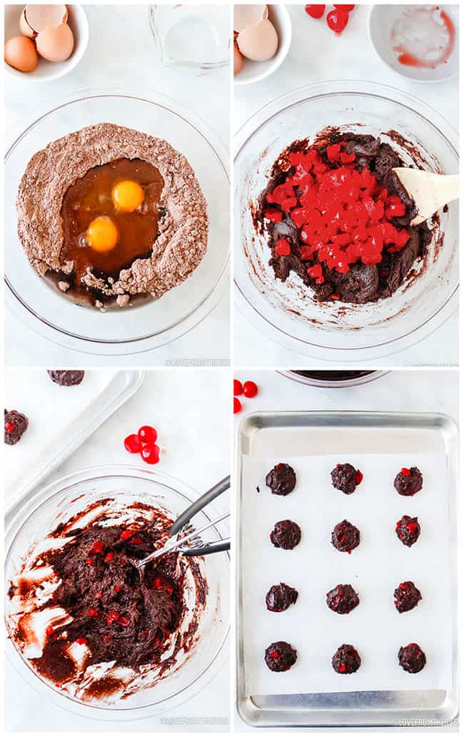 step by step photos showing how to make chocolate cherry cookies