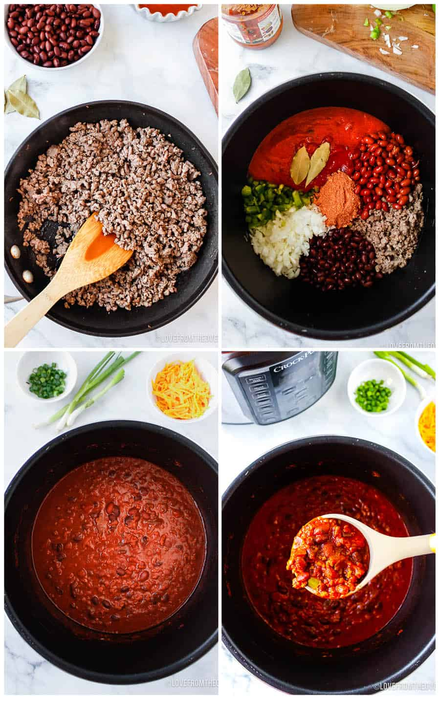 step by step photos of how to make beef chili in a crock pot